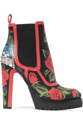 ALEXANDER MCQUEEN Embellished floral-print ankle leather boots