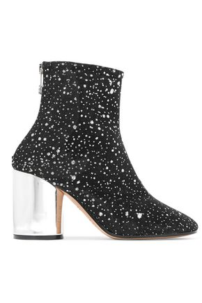 MAISON MARGIELA Metallic leather-trimmed glittered canvas ankle boots