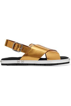 MARNI Laser-cut metallic leather sandals