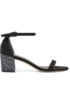 STUART WEITZMAN Simple glittered suede sandals