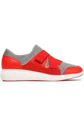 DKNY Paneled leather and mélange scuba sneakers