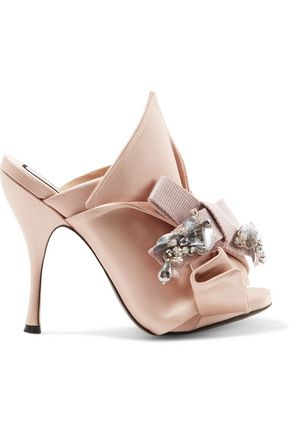 N° 21 Embellished knotted satin mules