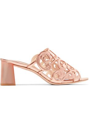 SOPHIA WEBSTER Birdie cutout metallic leather mules
