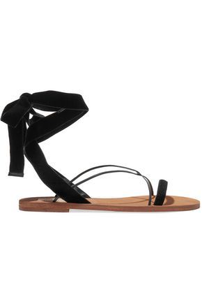VALENTINO Velvet and leather sandals