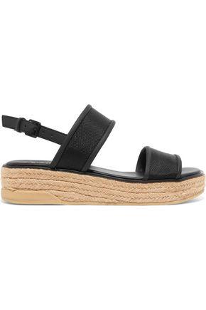 DKNY Shana canvas and leather slingback sandals