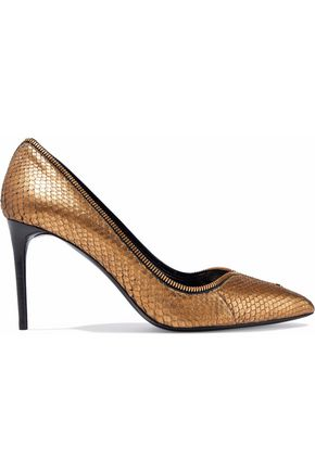 TOM FORD Metallic zip-embellished python pumps