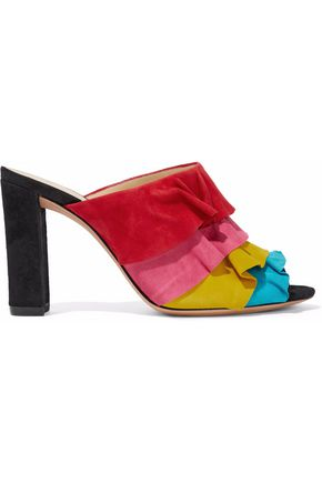 WOMAN MILI RUFFLED SUEDE MULES RED