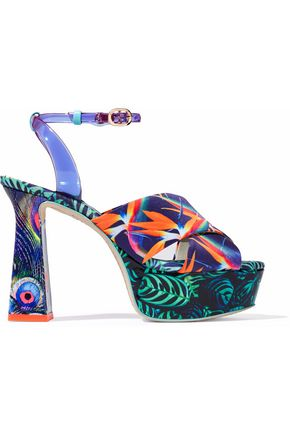 SOPHIA WEBSTER Effie printed leather and vinyl platform sandals