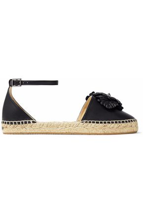JIMMY CHOO Floral-appliquéd leather espadrilles