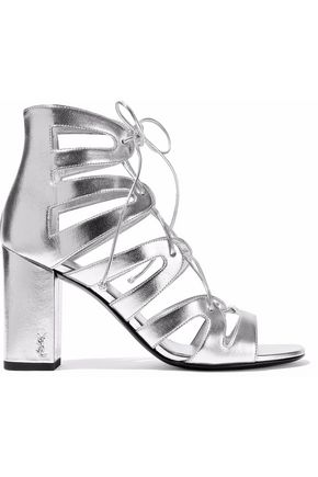 SAINT LAURENT Lace-up metallic leather sandals