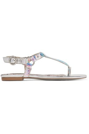 JUST CAVALLI Iridescent python-effect faux leather sandals
