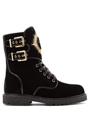 BALMAIN Leather-trimmed embellished suede ankle boots