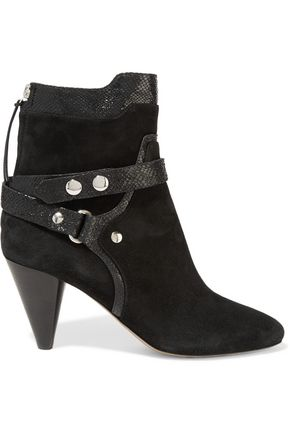 ISABEL MARANT Raya leather-trimmed suede ankle boots