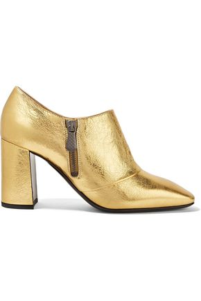 BOTTEGA VENETA Metallic textured-leather ankle boots