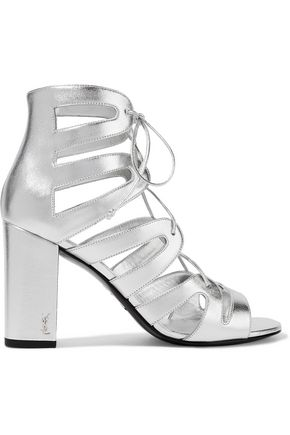 SAINT LAURENT Babies lace-up metallic leather sandals