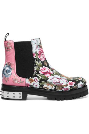 ALEXANDER MCQUEEN Floral embroidered and printed leather ankle boots