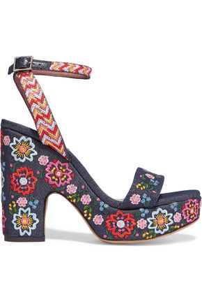 TABITHA SIMMONS Calla Festival embroidered denim sandals
