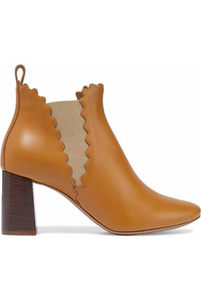 CHLOÉ Lauren scalloped leather ankle boots