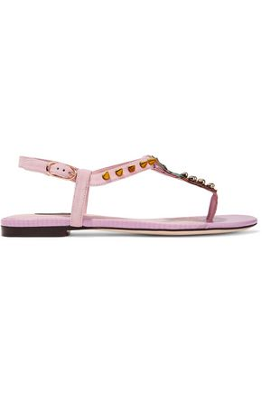 DOLCE & GABBANA Embellished suede and lizard-effect leather sandals