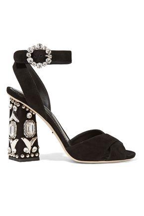 DOLCE & GABBANA Bianca embellished suede sandals