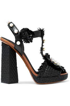 DOLCE & GABBANA Embellished raffia and leather platform sandals