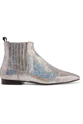 WOMAN GLITTERED LEATHER CHELSEA BOOTS SILVER