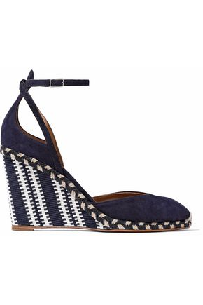 AQUAZZURA Cape Town suede and canvas wedge espadrilles