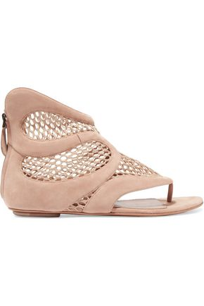 ALAÏA Mesh and suede sandals