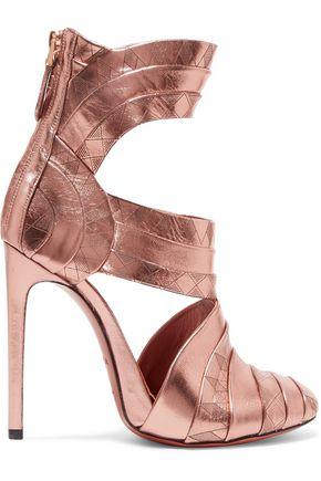 ALAÏA Printed metallic leather sandals