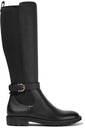 SALVATORE FERRAGAMO Stretch canvas-paneled textured-leather knee boots