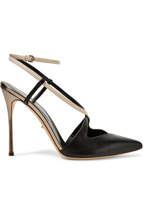 SERGIO ROSSI Sing metallic cutout leather pumps