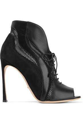 SERGIO ROSSI Paneled leather, suede and mesh ankle boots