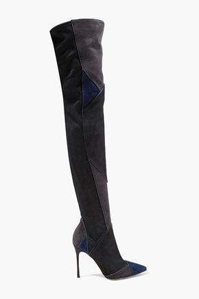 SERGIO ROSSI Color-block suede thigh boots