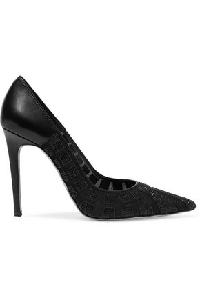 RENE' CAOVILLA Embellished paneled leather and mesh pumps
