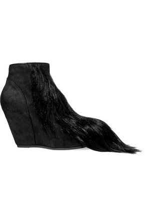 RICK OWENS Faux fur and nubuck wedge ankle boots