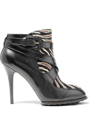 TOD'S Zebra-print calf hair-paneled leather ankle boots