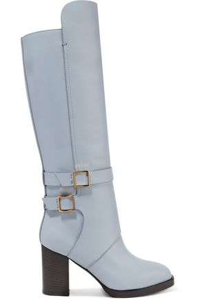 TOD'S Buckled leather knee boots