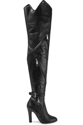 MOSCHINO Buckled leather thigh boots