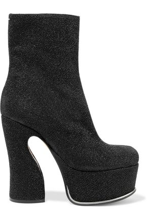 MAISON MARGIELA Trunk glittered coated-leather platform ankle boots