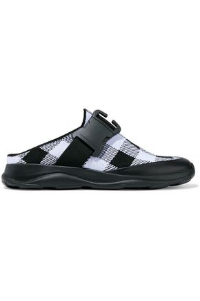 CHRISTOPHER KANE Leather-trimmed buckled checked slip-on sneakers