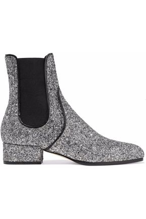 JIMMY CHOO Monty glittered leather ankle boots