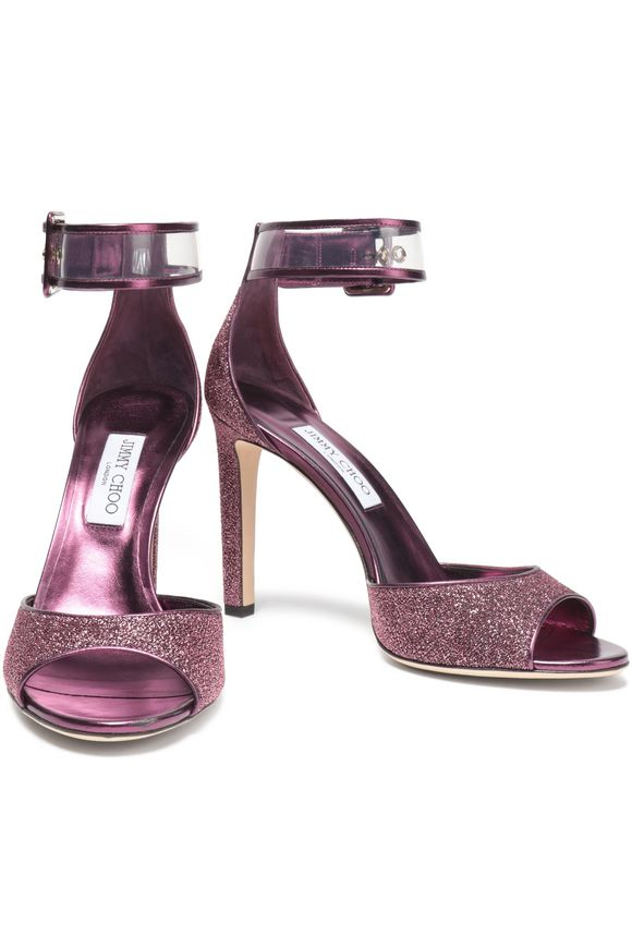 PVC-trimmed glittered leather sandals | JIMMY CHOO | Sale up to 70% off |  THE OUTNET