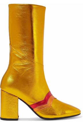MR by MAN REPELLER Appliquéd metallic leather boots