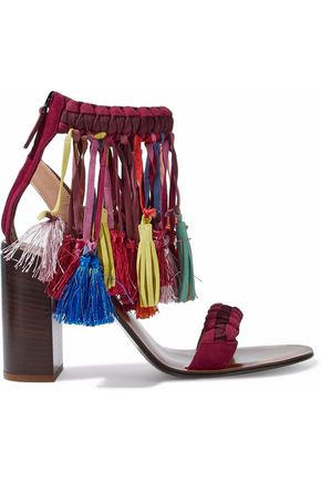 CHLOÉ Tasseled braided suede sandals