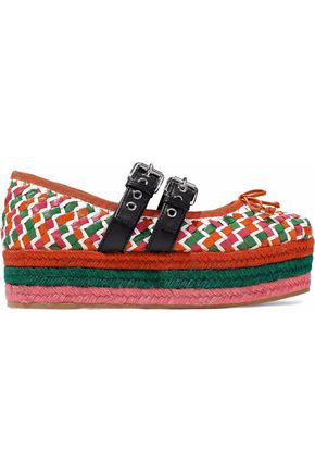 MIU MIU Lace-up woven leather platform espadrilles
