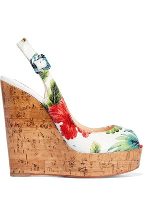 CHRISTIAN LOUBOUTIN Une Plume 100 printed textured glossed-leather wedge sandals