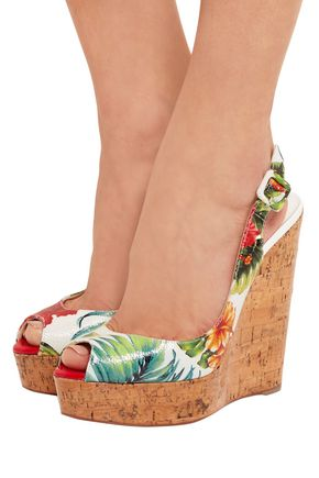 fcb5269c9aaf ... CHRISTIAN LOUBOUTIN Une Plume 100 printed textured glossed-leather wedge  sandals ...