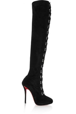 CHRISTIAN LOUBOUTIN Top Croche 120 suede over-the-knee boots