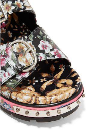 ALEXANDER MCQUEEN Floral-print leather sandals