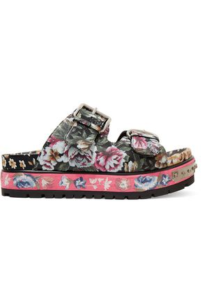ALEXANDER MCQUEEN Floral-print leather sandals